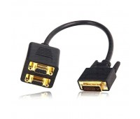 VGA splitter 2 port Cable in DVI (24+5) High Quality (черный, толстый)