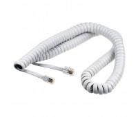 Телефонный кабель для трубки, спиральный белый 1,7м