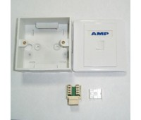 AMP Розетка (комплект!) Настенно-Внутренняя 1-портовая RJ-45 (Вставка, Коробка, лицевая панель)