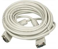 VGA Cable 15m/15m (папа-папа) экранированный 10m High Quality 8mm серый (2 фер. кольца)