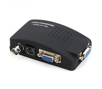Video Converter to VGA, (вход и выходVGA+вход Video BNC и S Video)+ кабель:VGA,S-Video, Power Supply