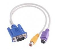 VGA to TV Convertor, S-Video+RCA Out Cable Переходник