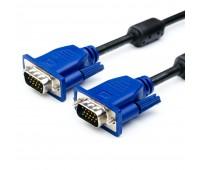 VGA Cable 15m/15m (папа-папа) экранированный 1.5m черный с синими разъёмами (2 фер. кольца)