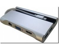 Type-C Подставка для телефона в USB 3.1 3 Port, в HDMI, в VGA, в LAN, в USB Type C Silver