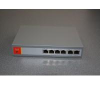Сетевой коммутатор PoE Switch 10/100Mbps 4port+2port UP-Link, IEEE802.3af/at, PoE out:DC52V 120W